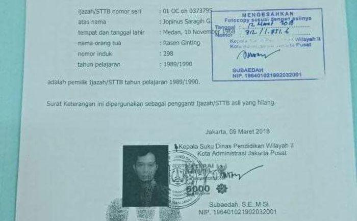 Jr Saragih Legalisir Ijazah Di Suku Dinas Jakarta Pusat Smart News Tapanuli