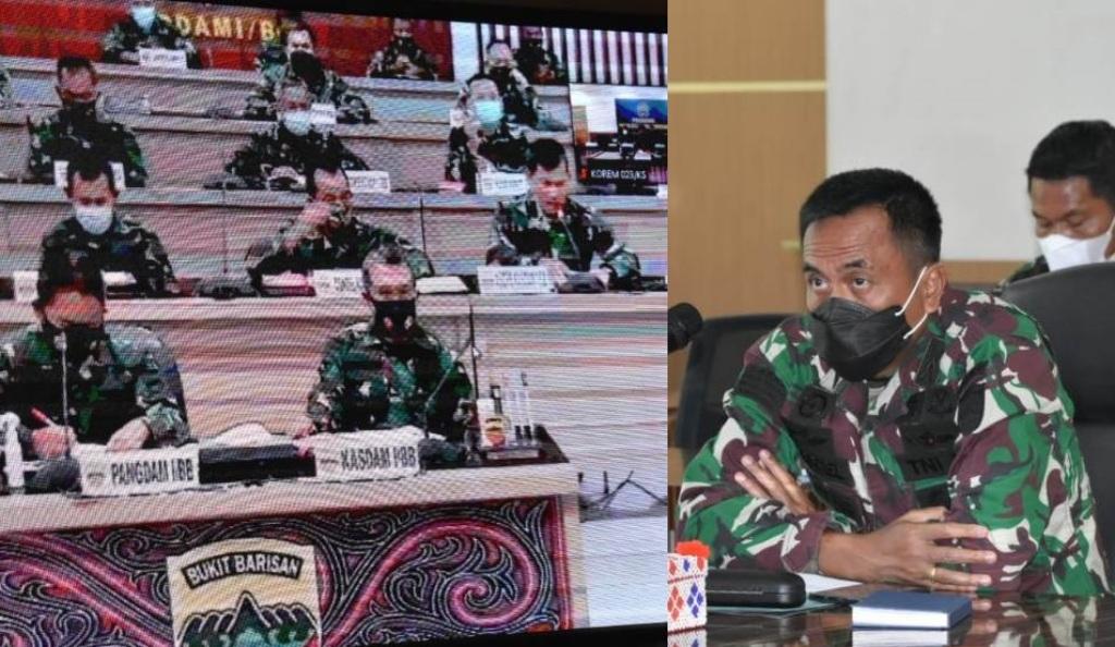 Danrem 023/KS Kolonel Inf Febriel B Sikumbang didampingi para Kasi mengikuti rakor kesiapan jajaran Satuan Kodam I/BB dalam rangka menghadapi libur Idul Fitri 1442 H tahun 2021 secara Virtual bertempat di Ruang Data Makorem 023/KS, Rabu (28/4/2021).