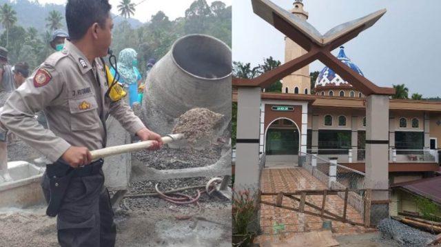 Bripka Pol Bripka Junior Hutabarat dan Kondisi Masjid yang Sudah Rampung 95 Persen