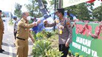 Bupati Taput Nikson Nababan mengecek kesiapan Pos Pengamanan Operasi Ketupat Toba 2021 di Kecamatan Siborongborong