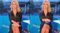 Paola Ferrari viral saat memandu Euro 2020. (The Sun)