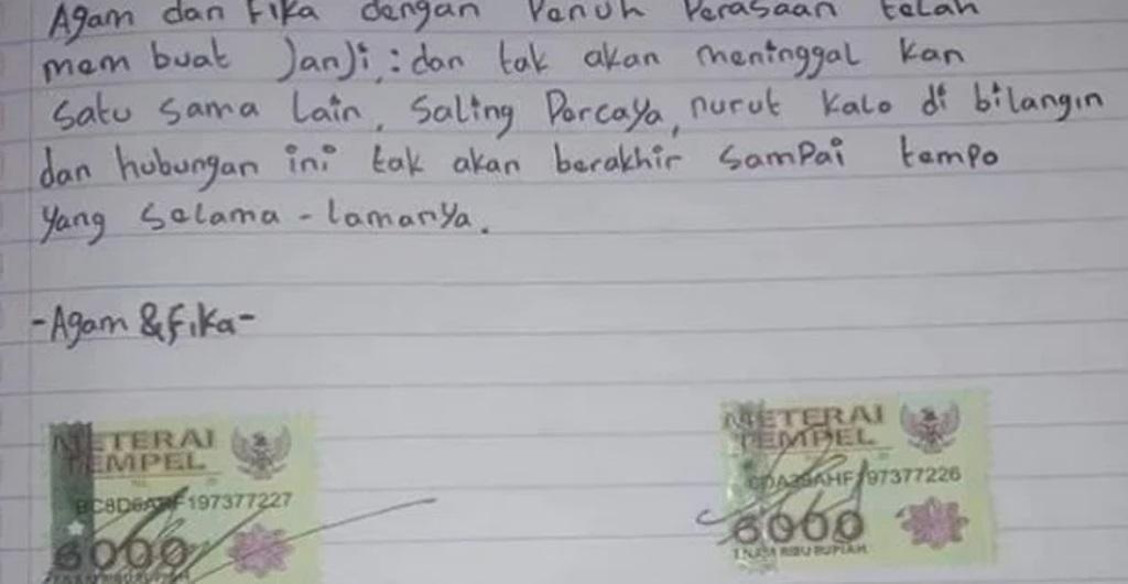 Viral surat pacaran pakai meterai 6000 (Instagram/ndorobeii)