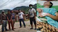 Tersangka YH (celana coklat) Diamankan Tim Tekab Polres Padangsidimpuan (kanan-korban) saat Dirawat di Rumah Sakit. (dok/istimewa)